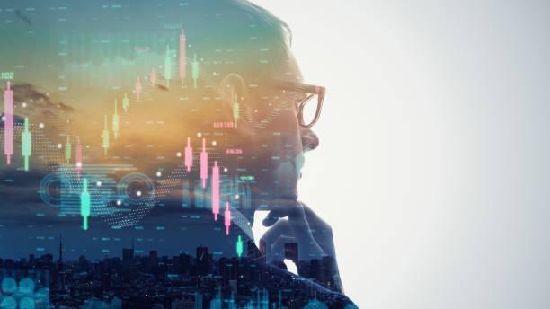 Financial technology concept. Stock chart. Investment. Fintech. stock photo