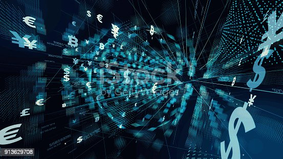 istock Financial technology concept. Technological abstract background. 913629708