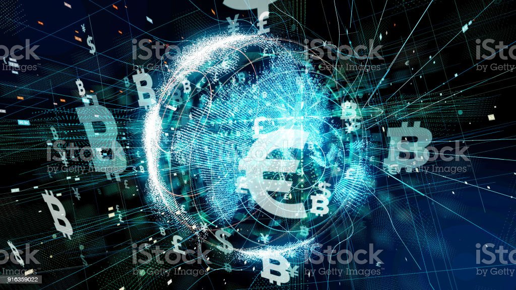 Financial technology concept. Technological abstract background. stock photo