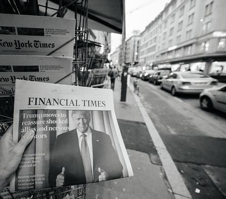 Financial Times About Donald Trump New Usa President — стоковые фотографии и другие картинки 2016