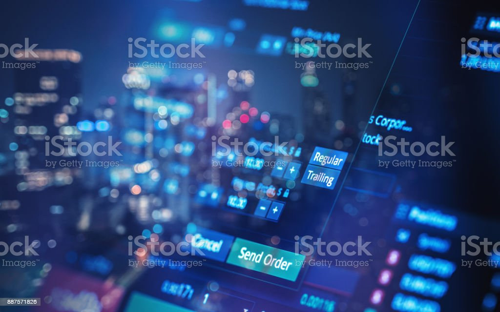 Financial trading chart at digital display stock photo