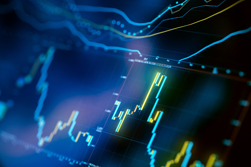 Financial Trading Charts Close-Up on Digital Display