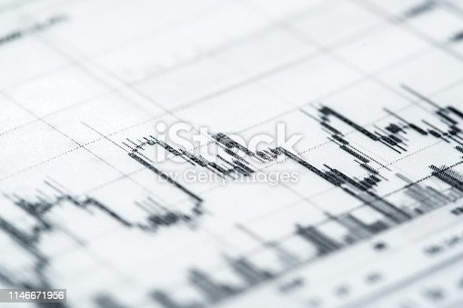 Financial Trading Techniques. Charts analytics printed on tracing paper