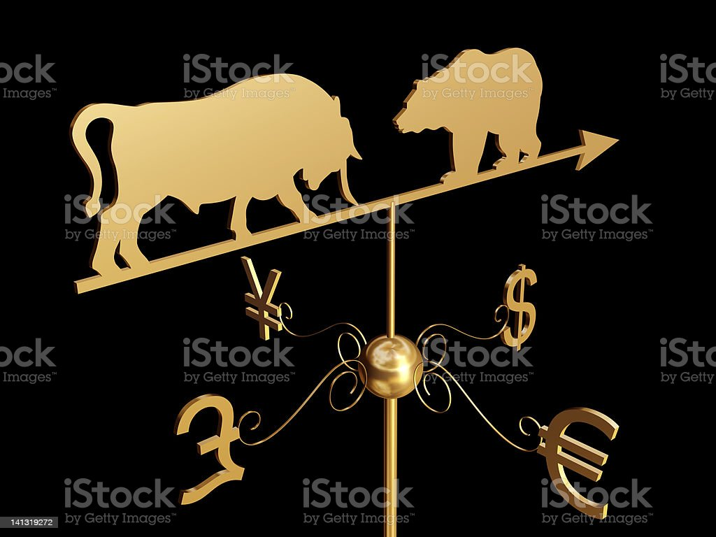 Financial weather vane 3D royalty-free stock photo