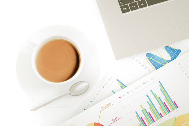Financial working with coffee stock photo