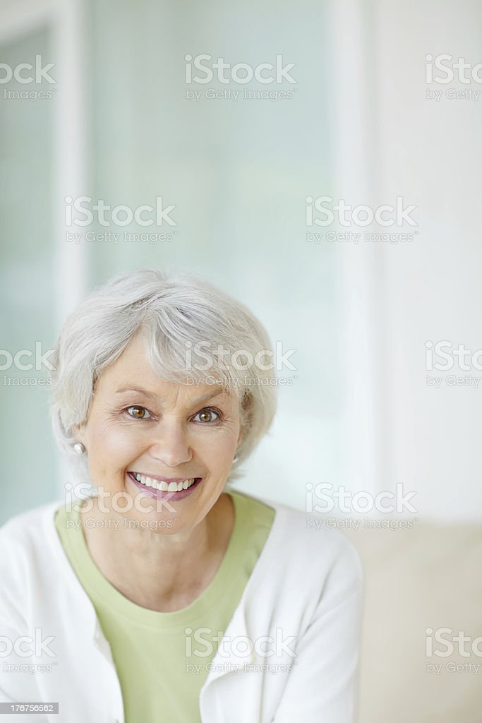 Financially stable in her retirement stock photo