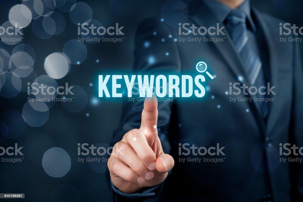 Find keywords - SEO and SEM concept - foto de stock