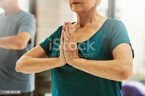 Closeup shot of a senior couple exercising together indoors