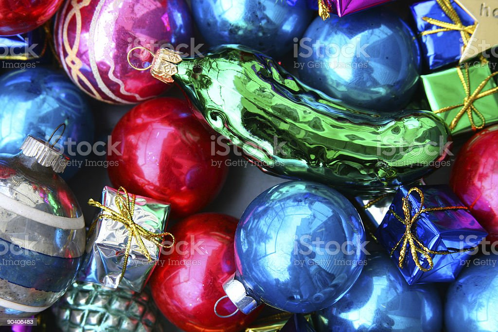 Find the Christmas Pickle: Glass Ornaments and Decorations Background stock photo