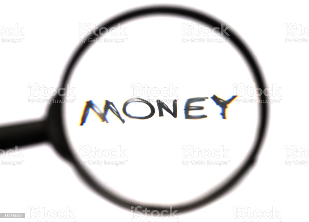 find the money concept, magnifying glass and handwriting word 'money' stock photo