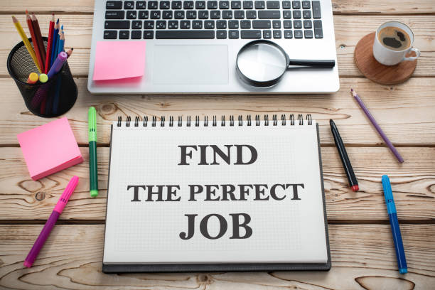 find the perfect job concept on work desk in office - job search stock photos and pictures
