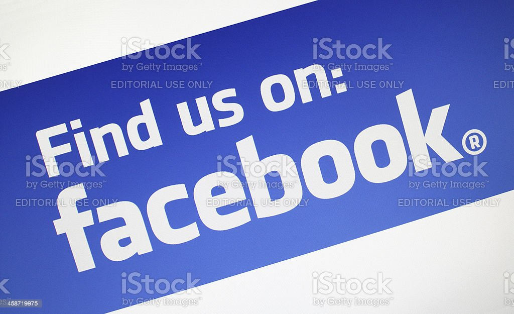 Find us on Facebook stock photo