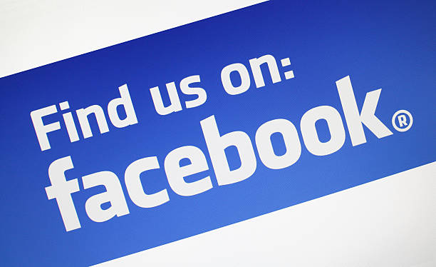 find us on facebook - logo stock photos and pictures