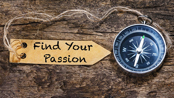 Find your passion  motivation phrase handwriting on label with stock photo