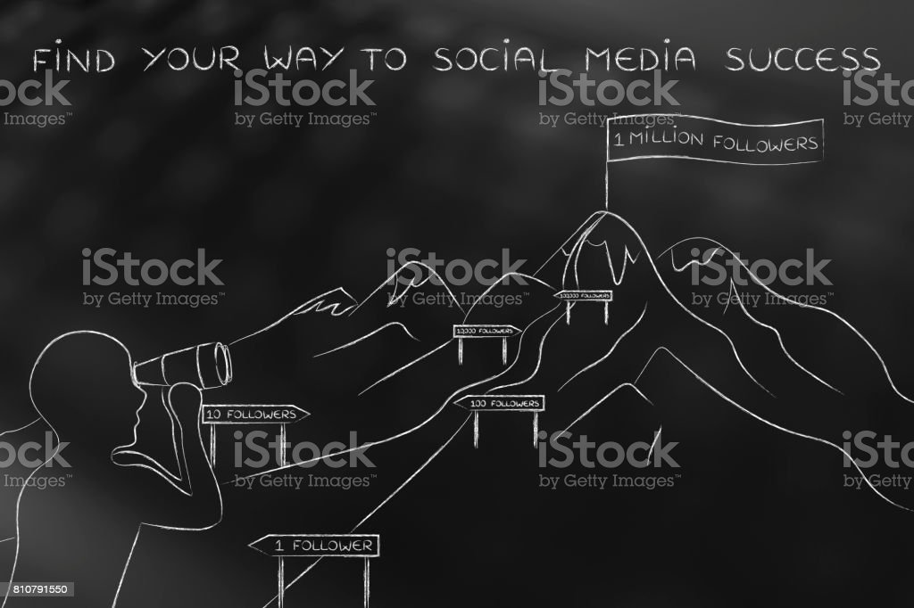 find your way to social media success, man looking at path to hike stock photo