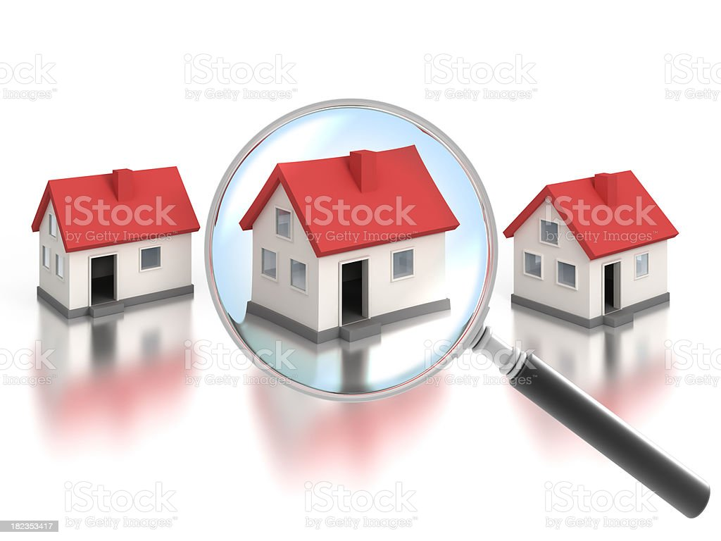 Finding a home with magnifying glass - clipping path included stock photo