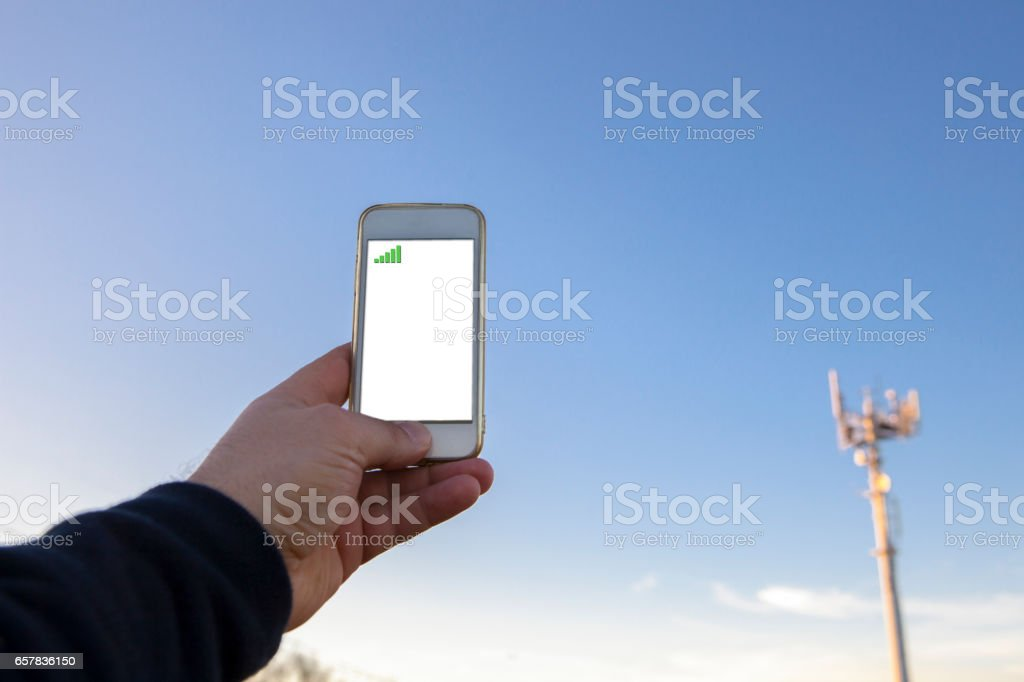 Finding any mobile phone coverage stock photo
