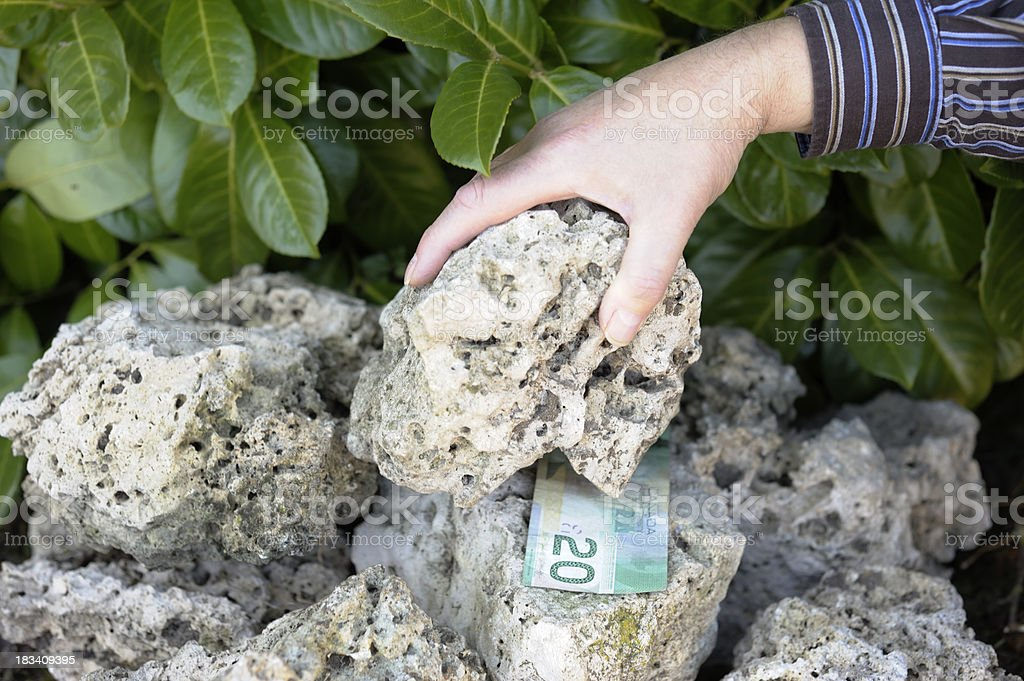 Finding Canadian business under stone stock photo
