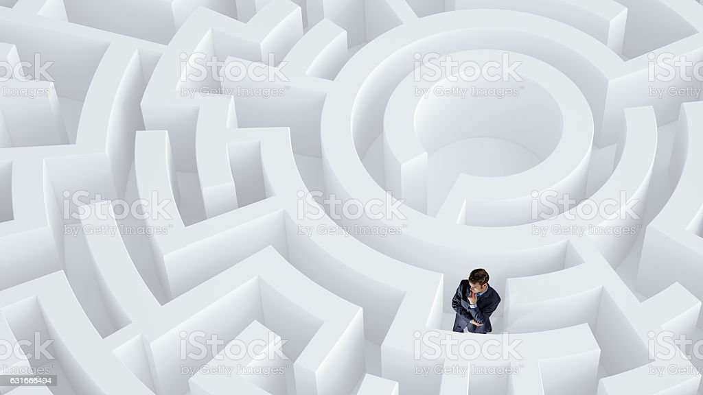 Finding effective solution . Mixed media stock photo