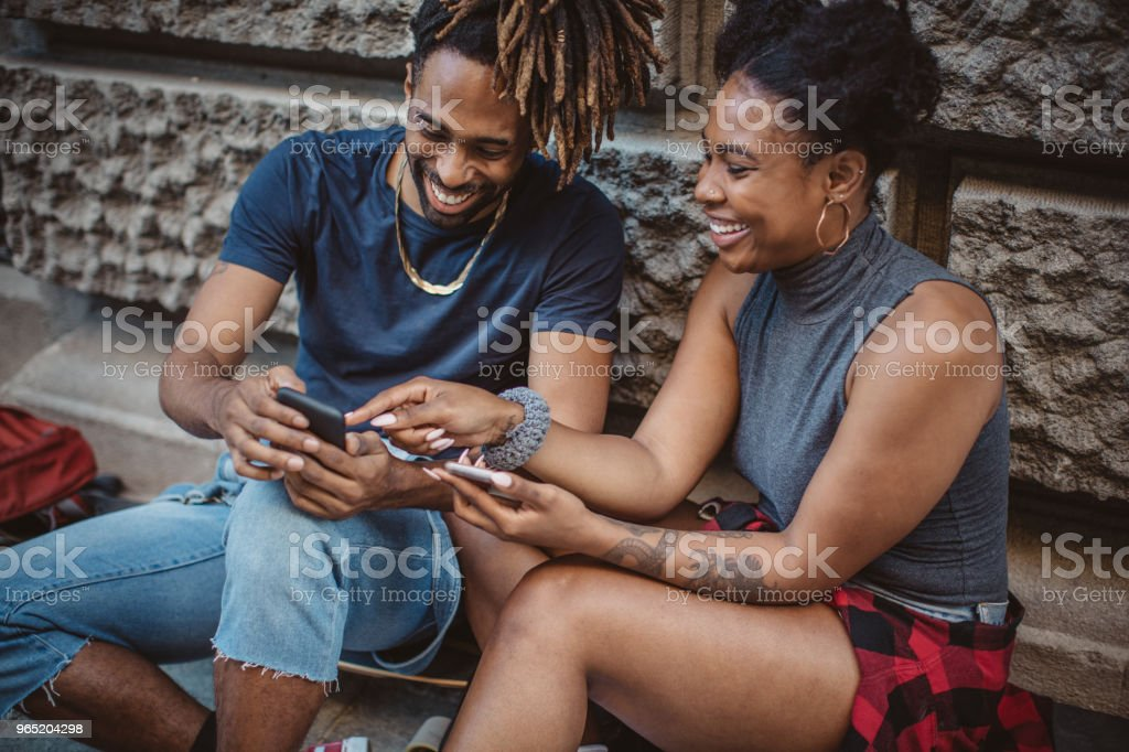 Finding good spot for skating royalty-free stock photo