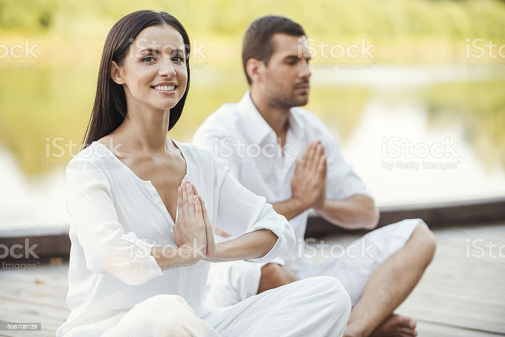 Finding peace and harmony inside themselves. stock photo