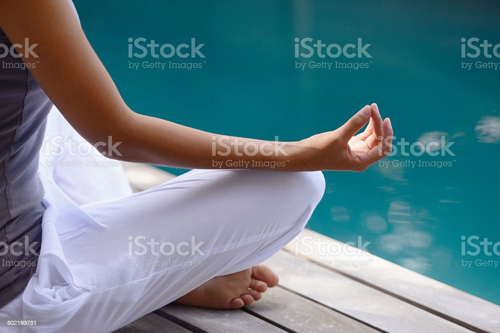 Finding peace by the waters stock photo