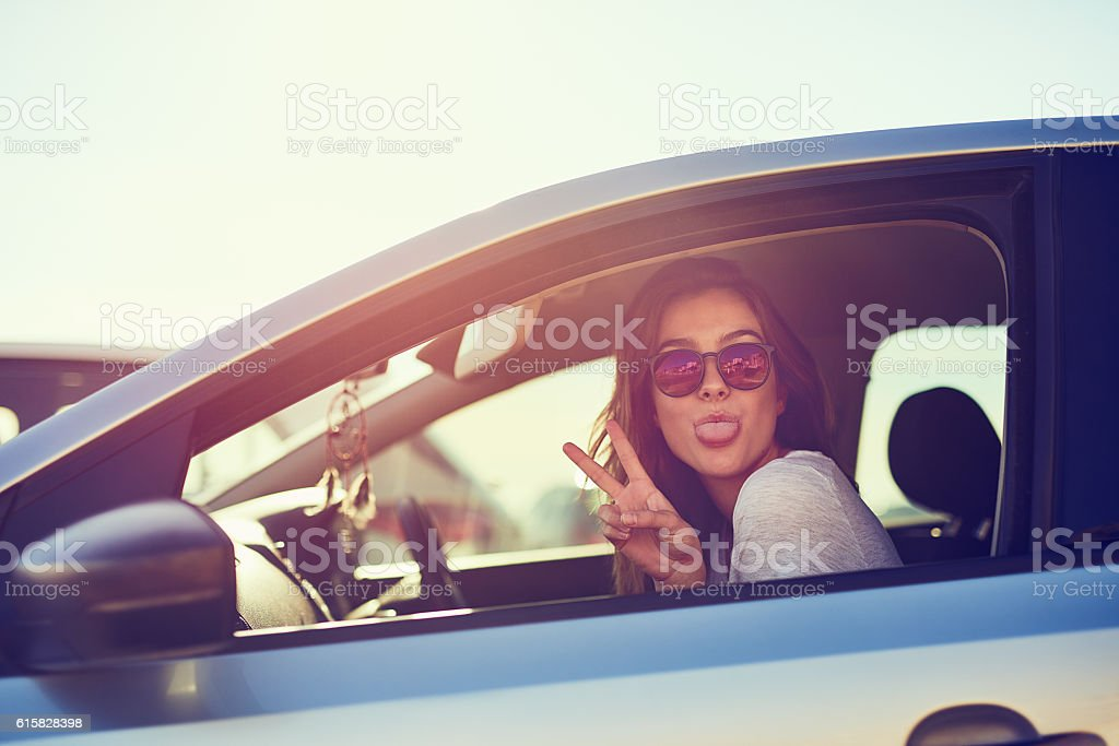 Finding peace on the road stock photo