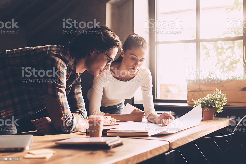 Finding solution together. stock photo