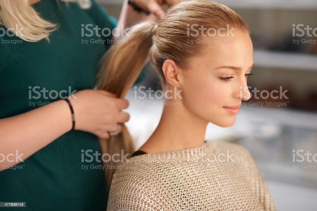 Finding that perfect hair-do stock photo