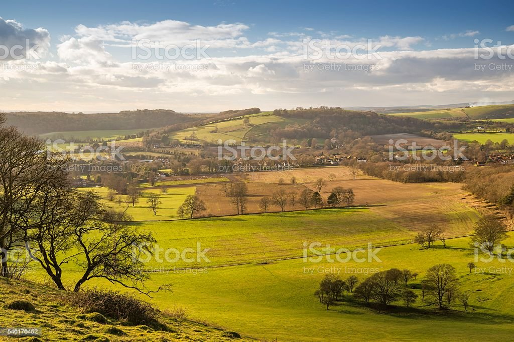 Findon from Cissbury Ring stock photo