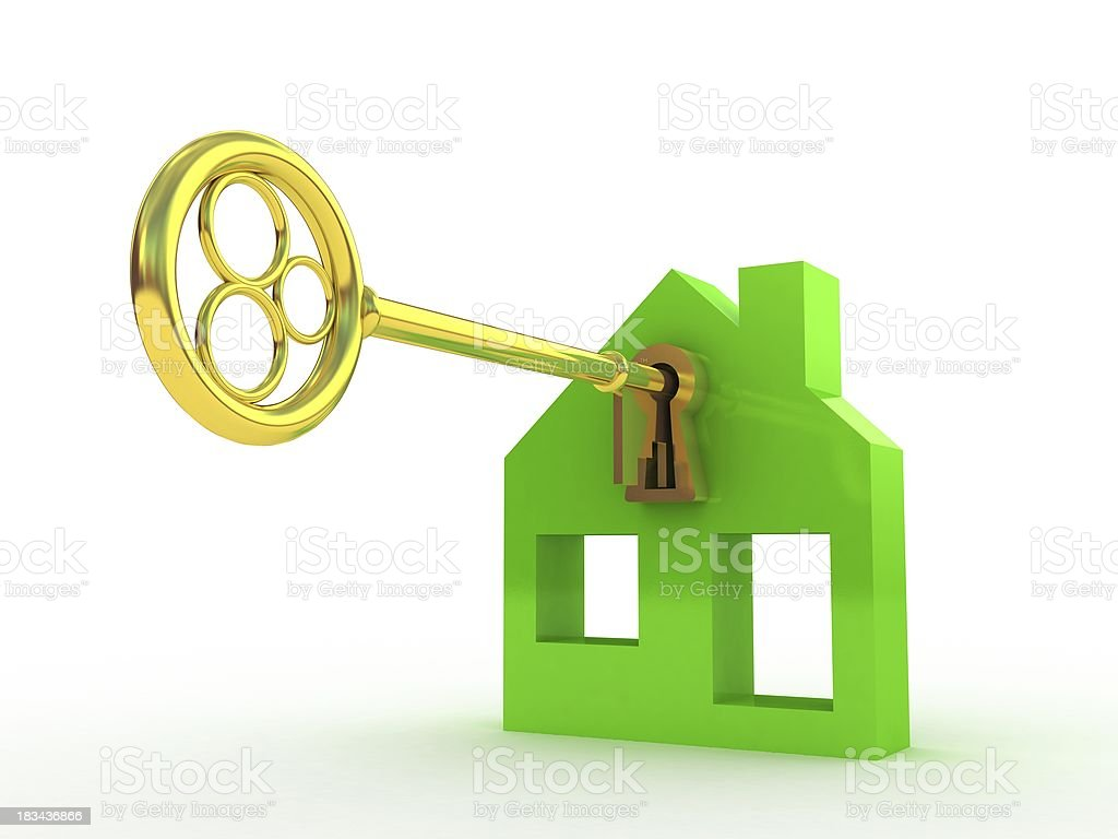 Fine 3d image of isolated key  dreams house royalty-free stock photo