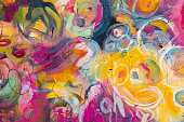 istock Fine Art Abstract Floral Painting Background 1258336471