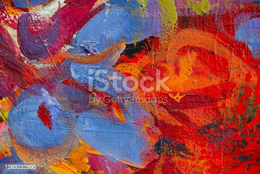 931131702 istock photo Fine Art Abstract Painting Background with Brush Strokes 1263232995