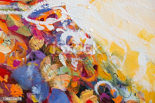 931131702 istock photo Fine Art Abstract Painting Background with Brush Strokes 1263239478