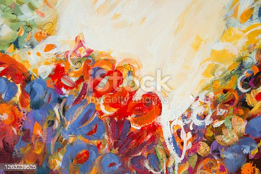 931131702 istock photo Fine Art Abstract Painting Background with Brush Strokes 1263239525