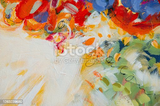 931131702 istock photo Fine Art Abstract Painting Background with Brush Strokes 1263239650