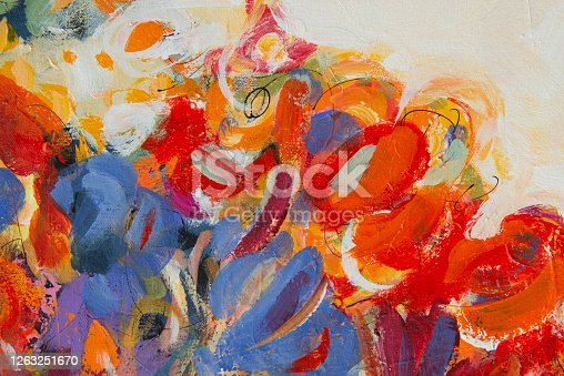 931131702 istock photo Fine Art Abstract Painting Background with Brush Strokes 1263251670