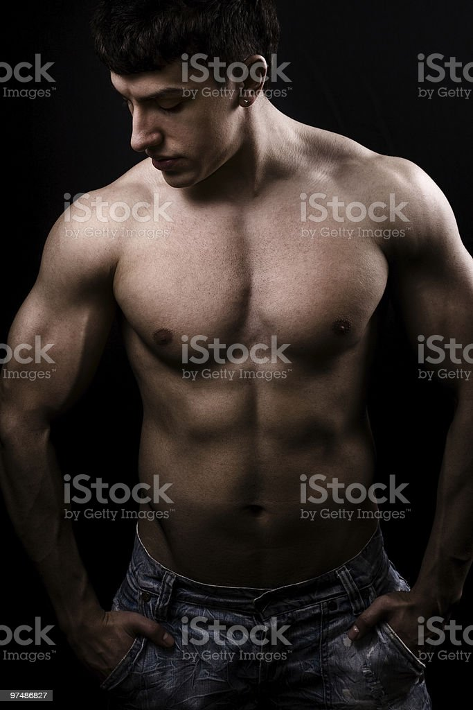 Fine art image of muscular sexy shirtless man royalty-free stock photo