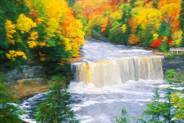 fine art of tahquamenon falls in upper peninsula of michagin - impressionist painting stock photos and pictures