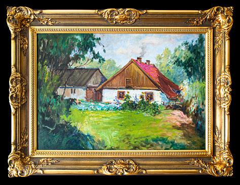 Fine art. Oil paintings rural landscape