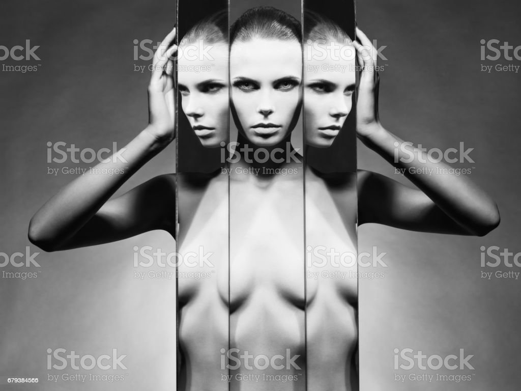 Fine art portrait of elegant lady with mirror royalty-free stock photo
