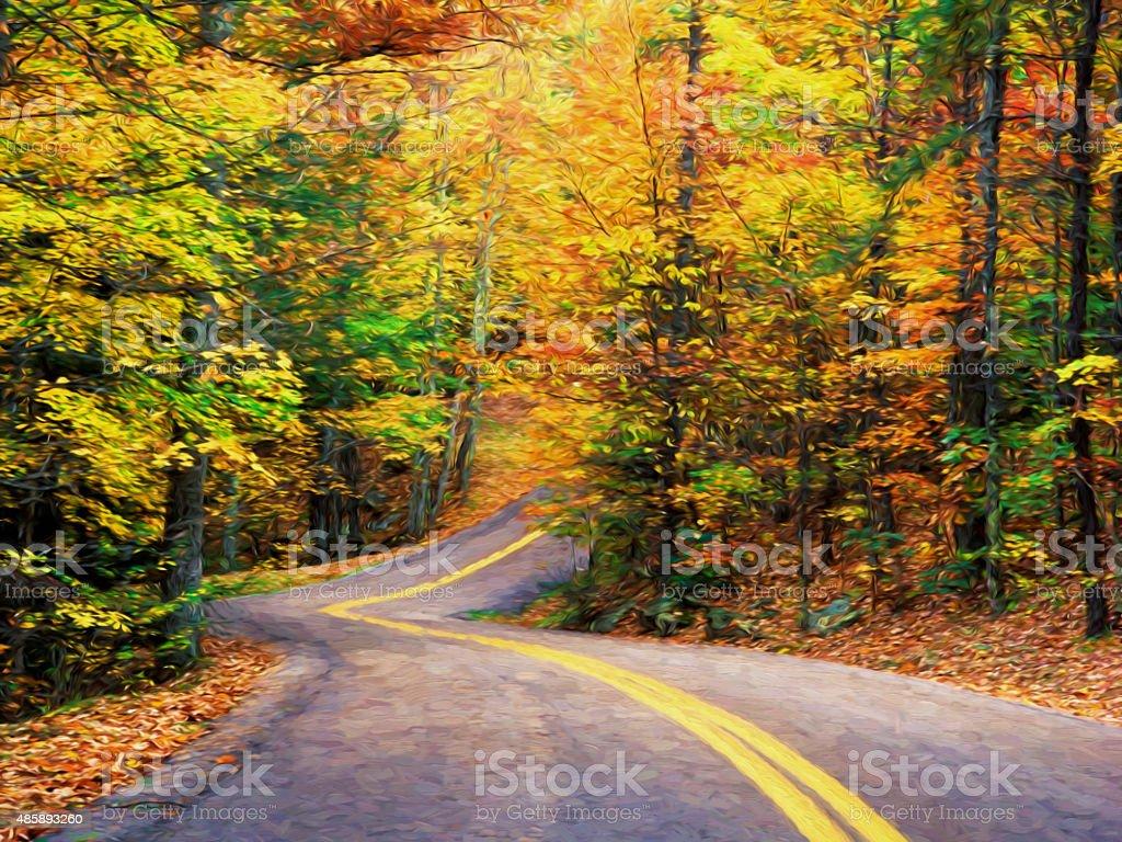 Fine art print of Autumn road through Pine Mountain KY stock photo