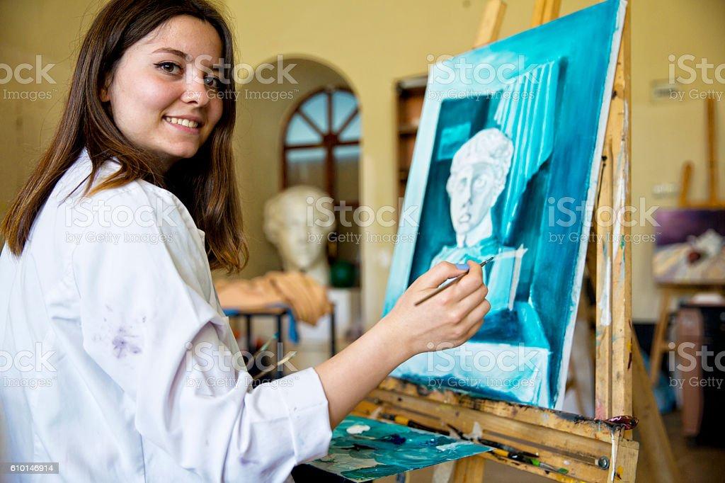 Estudiantes pintura de bellas artes - foto de stock