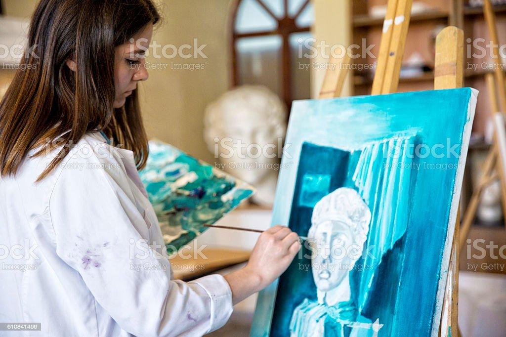 Fine art students painting stock photo