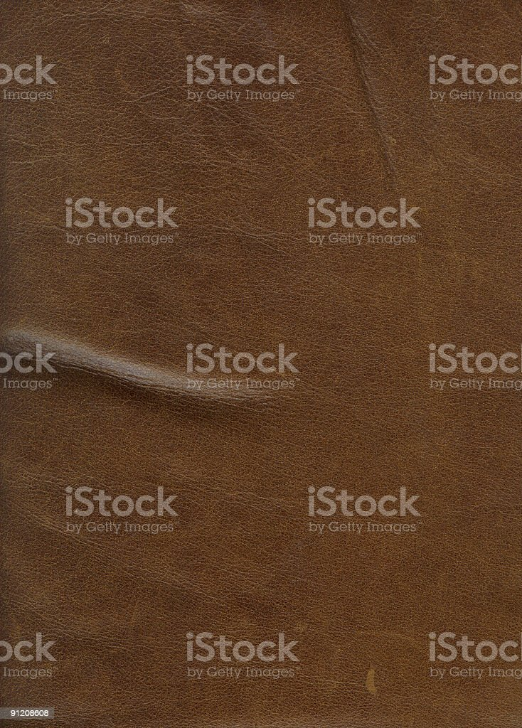 Fine Brown Old Weathered Leather Piece, XXL stock photo