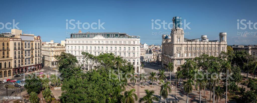 Fine buildings line the Parque Central in central Havana, Cuba stock photo
