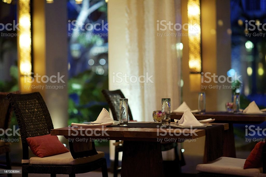 FIne dining at gourmet restaurant royalty-free stock photo