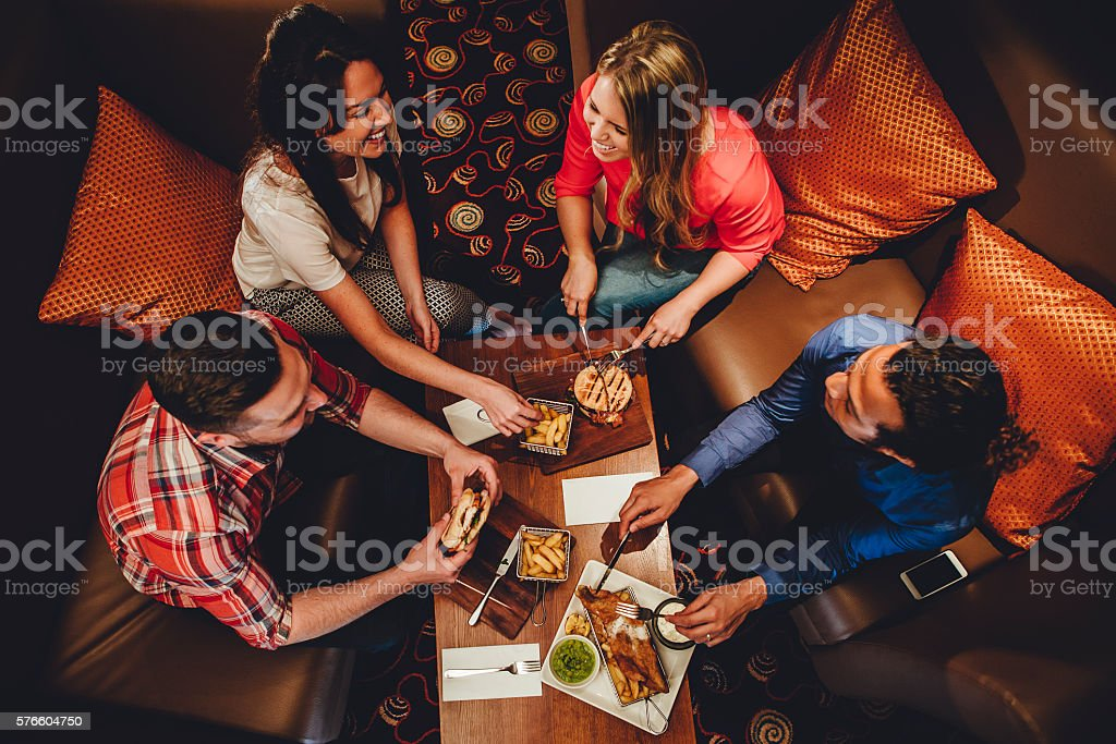 Fine Dining Friends stock photo