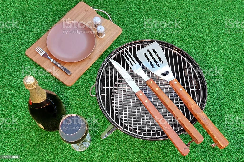 Fine Dining On The Lawn. BBQ Party Or Picnic Concept stock photo