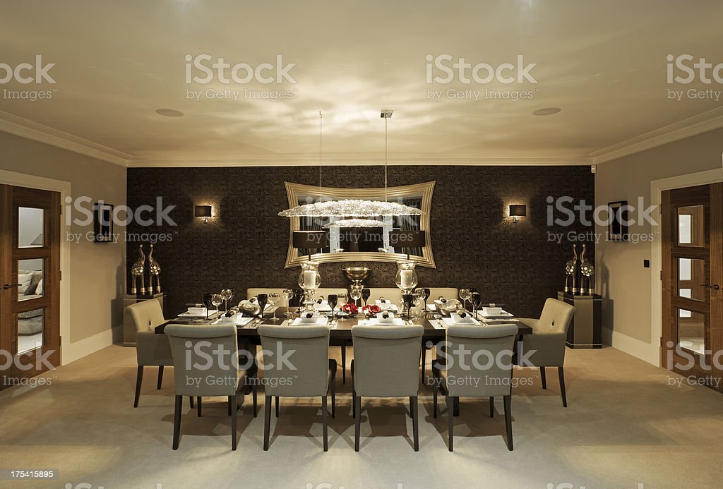 Fine Dining Room At Night Stock Photo Amp More Pictures Of